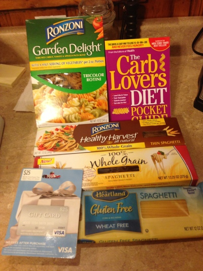 Of course, being the child I am, I had to rip into it to see what I won! The box was filled with all different types of pasta, ranging from gluten-free to veggie, The Carb Lovers Diet pocket guide, a spaghetti spoon and a $25 Visa gift card!