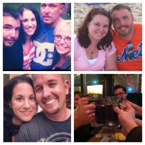 Good friends are hard to find! Top Left: BBQ with Mike's coworkers. Top Left: Mike with Beth at the Jersey Shore. Bottom Left: Me with Kris during one of my OH trips. Bottom Right: Cheers to new friends!