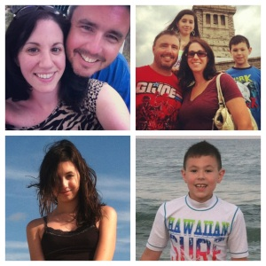 As much as they drive me crazy, my family is the most important thing to me.Top Left: Mike & I at a BBQ over the summer, Top Right: Family photo while visiting Lady Liberty. Bottom Photos: My amazing kids at the beach.