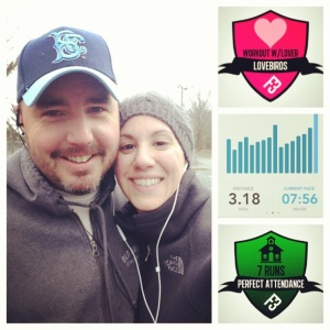 Mike and I after a windy, rainy 5K.