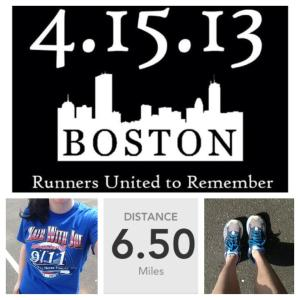 Today I wore an old race t-shirt and did a #RunForBoston