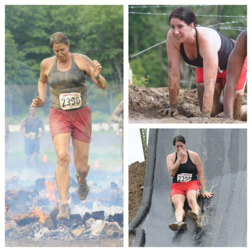 Left: Fire jumps - Top Right: Barbed Wire - Bottom Right: Sliding into muddy water.