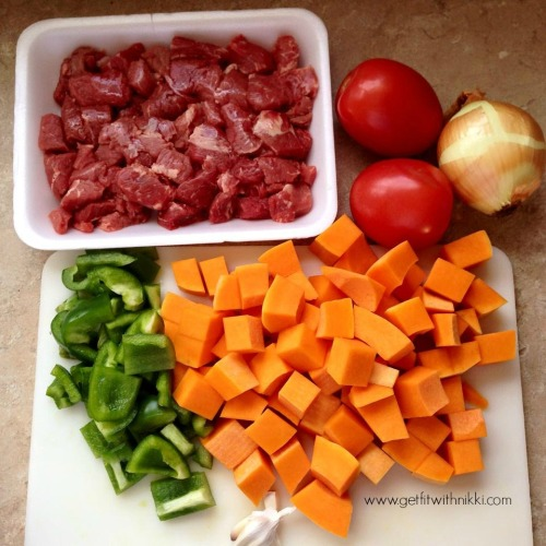 hearty beef and butternut squash stew prep